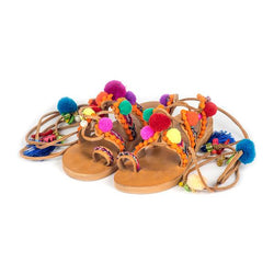 Pom Pom Tie Up Sandals (For Mummies)