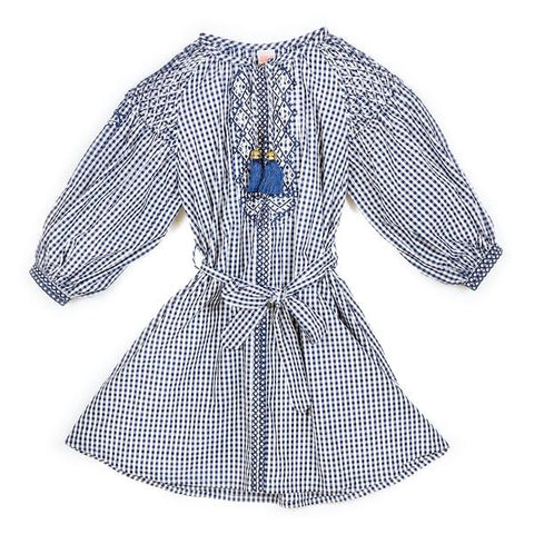 Gingham Boho Cotton Dress (Navy/White)