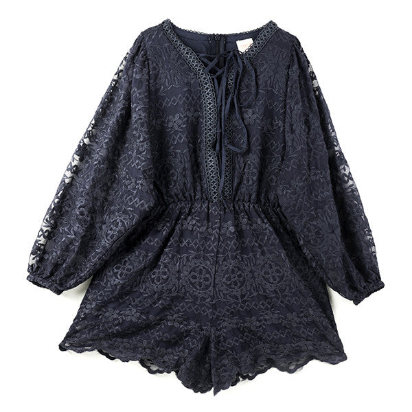 Calamity Lace Romper (Navy)