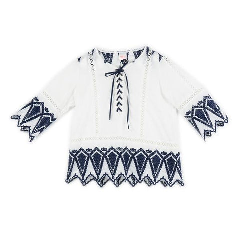 Blazing Embroidered Top (Ivory/Navy)