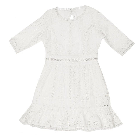 Cotton Embroidered Dress (Ivory)