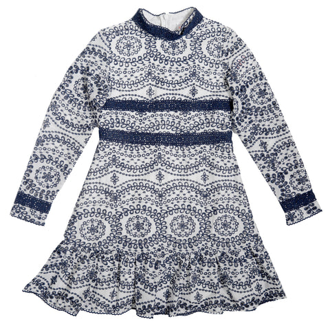 Gabriella Embroidered Dress (Navy)