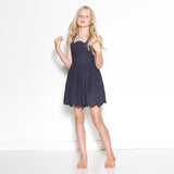 Broidery Anglais Summer Dress (Navy)