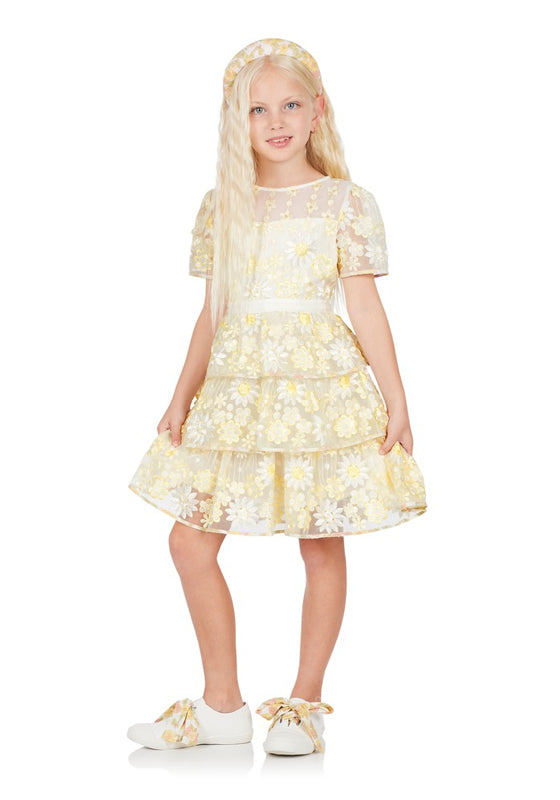 Palermo Embroidered Dress (Lemon)