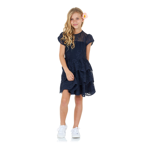 Isabella Lace Dress (Navy)