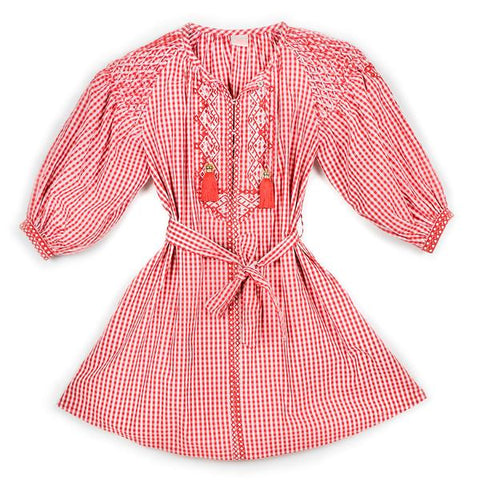 Gingham Boho Cotton Dress (Red/White)