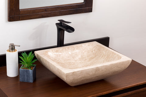 Natural Stone Vessel Bathroom Sink - Rectangular Laguna Travertine