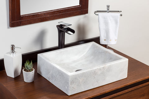 Natural Stone Vessel Bathroom Sink - Greece Marble