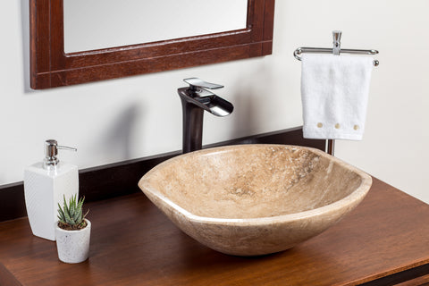 Natural Stone Vessel Bathroom Sink - Square end Travertine