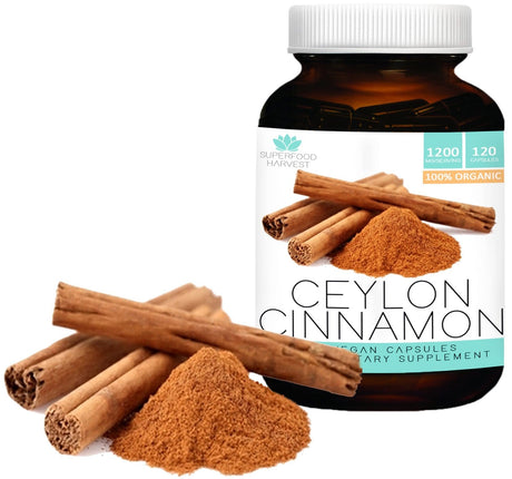 Organic Ceylon Cinnamon Capsules | 1200mg ( 120 Vegetarian Pills ) | Made in the USA , Non-GMO , True Cinnamon