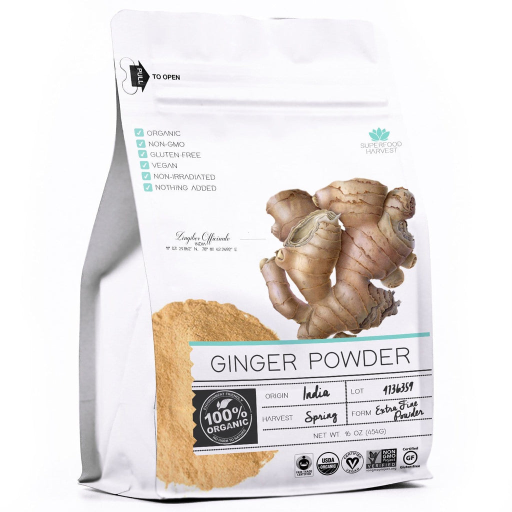 Organic Ginger Powder by Superfood Harvest© - 1 Pound - 100% USDA Organic, Certified Non GMO, Grade AAA Highest Quality