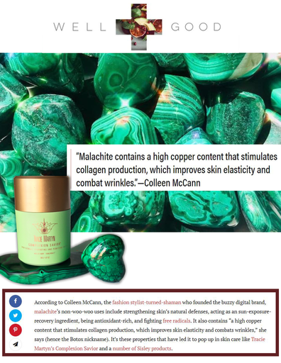 "WELL+GOOD HOW TO BEST USE MALACHITE—AKA ""THE BOTOX OF CRYSTALS"""