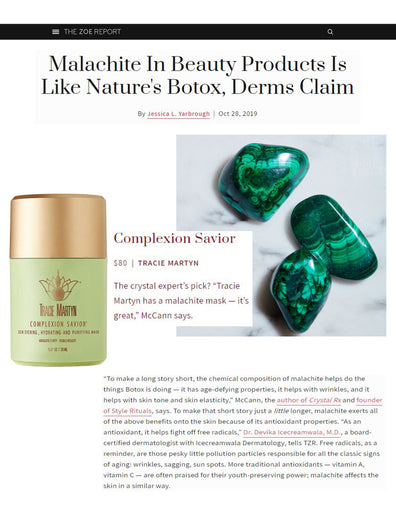 Zoe Report: Malachite In Beauty Products