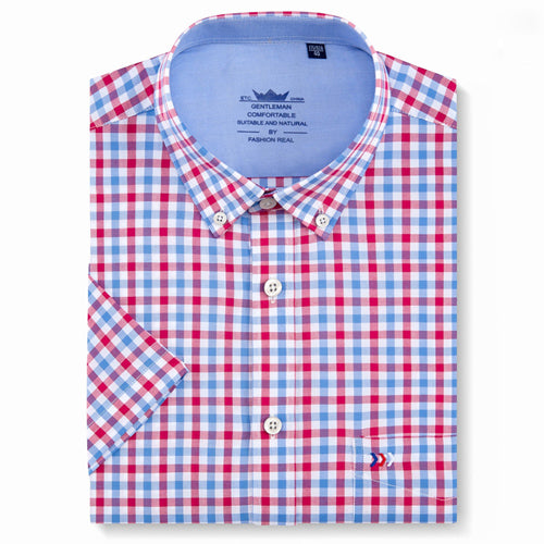 Men/'s Plaid Checkered Button Down Casual Short Sleeve Regular Fit Dress Shirt