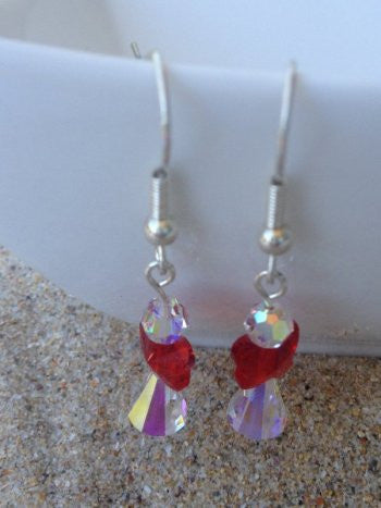 Red and Crystal Angel Earrings - Medium