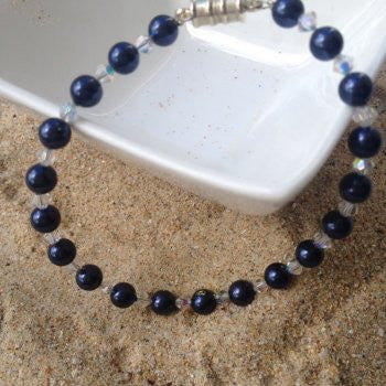 Royal Blue Swarovski Crystal & Pearl Bracelet