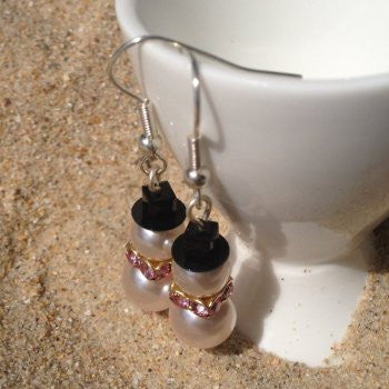 Pink Swarovski Crystal Pearl Snowman Earrings