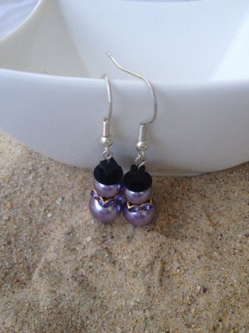 Purple Swarovski Crystal Pearl Snowman Earrings