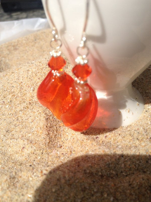 Orange Glass Bead Earrings