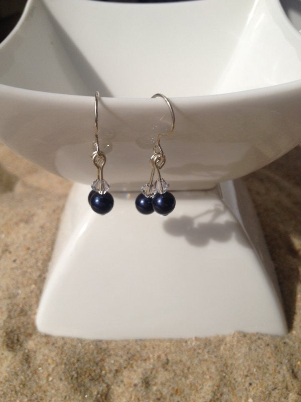 Navy Blue Swarovski Crystal Pearl Earrings