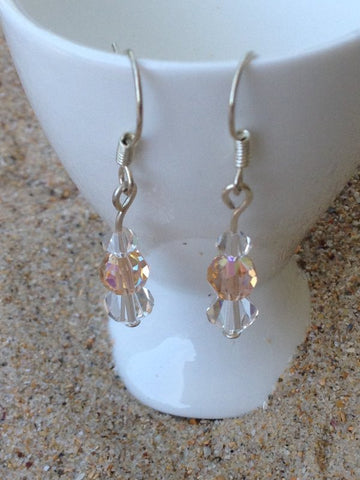 Apricot and Clear Swarovski Crystals Angel Christmas Earrings