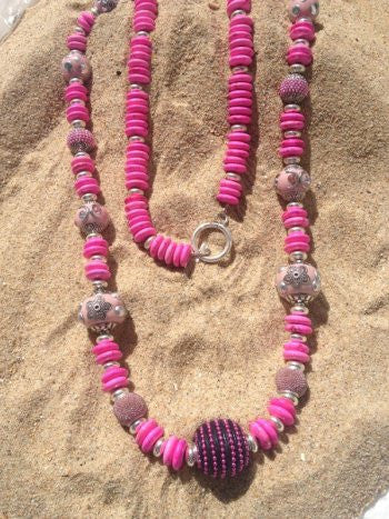 Pink Kasmire Bead Mix Necklace