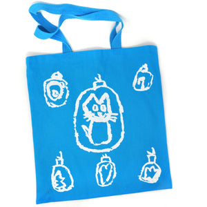 Tote Bag: Holiday Tree Ornaments (White on Blue)