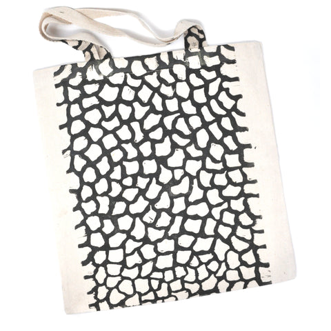 Tote Bag: Organic Pattern (Black on Natural)