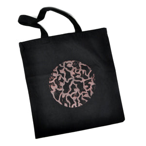 Tote Bag: Round Organic Pattern (Pink on Black)