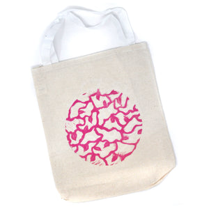 Tote Bag: Round Organic Pattern (Pink on Natural)