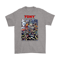 FDNY Painting by Yoko Komori Olson 2-SIDE T-Shirt KEEP BACK 200 FEET