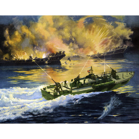 ELCO Barge Busters PT Boat Giclee Reproduction Print Available As 11x14 OR 13x19
