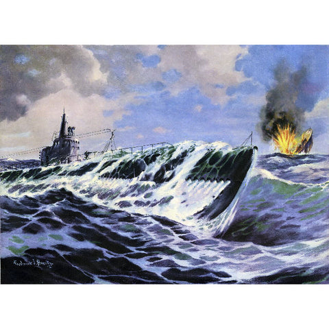 ELCO EBCO Conning The Kill WWII Submarine Giclee 11x14 OR 13x19 Print