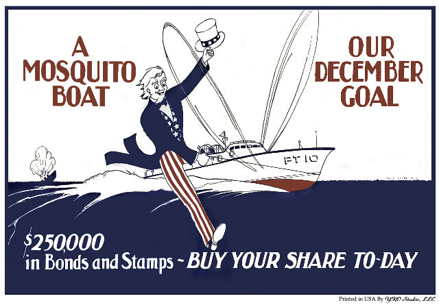 Early WWII PT Boat Bond Drive Poster