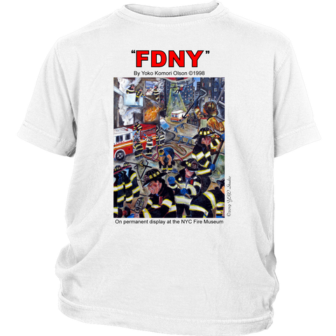 FDNY Painting by Yoko Komori Olson 2-SIDE YOUTH T-Shirt KEEP BACK 200 FEET