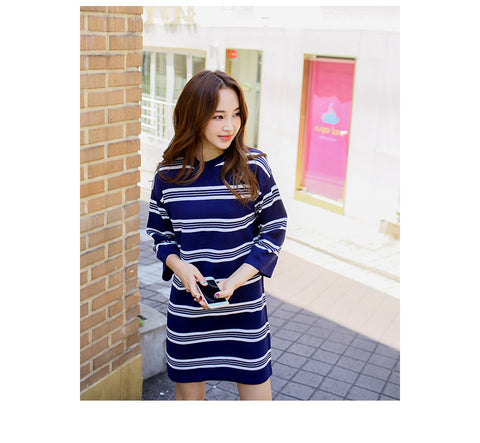 Navy and White Striped OPS Q457