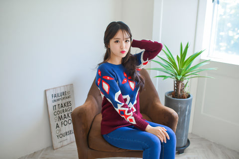 Mix Colour Pattern Knit T628