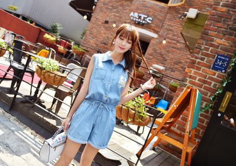 Sleeveless Denim Jumpsuits T1013