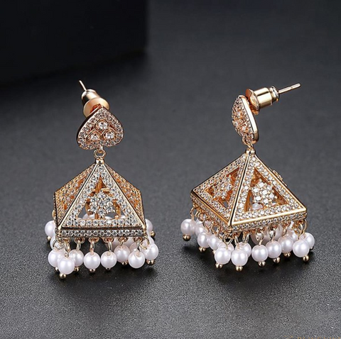 Albeli Rose Gold Jhumka Earrings