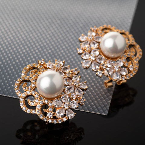 Bella Gold Stud Earrings with Pearls and Crystals