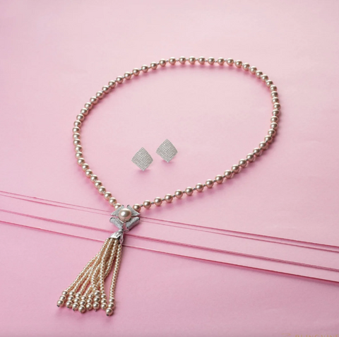 Champagne Long Pearl Necklace Set