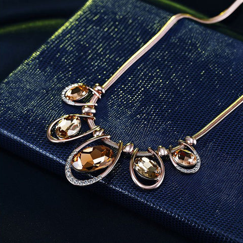 Divine Crystal and Gold plated Necklace Set