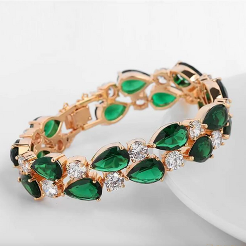 Emerald green crystal bracelet