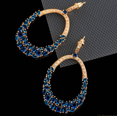 Glamista Blue Danglers Round Earrings for square face shape