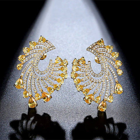 Jia Gold Earrings Tops with yellow crystals