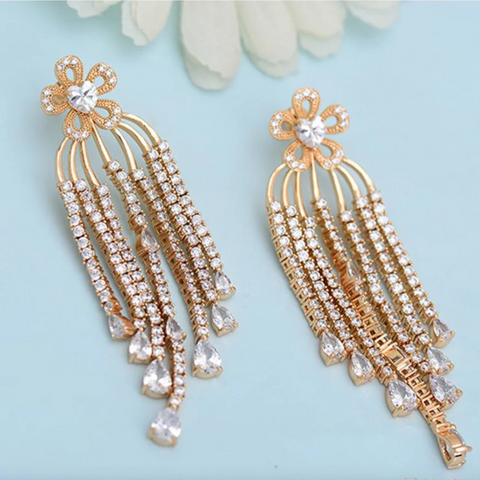 Kesha Long Earrings Traditional style in Gold and crystals