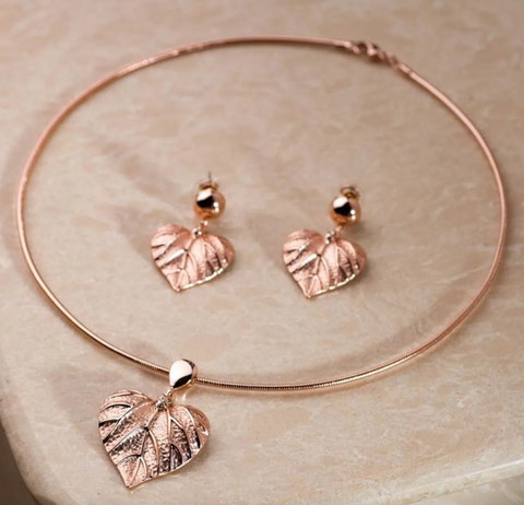 Mable Rose Gold Choker Necklace Set