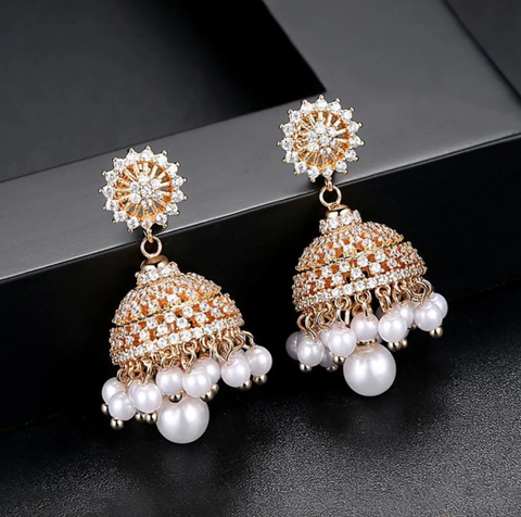 Malhar Rose Gold Jhumka Earrings Traditional in Swarovski Crystals and Pearl