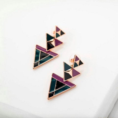 Marina Enamel Dangler Geometric Earrings