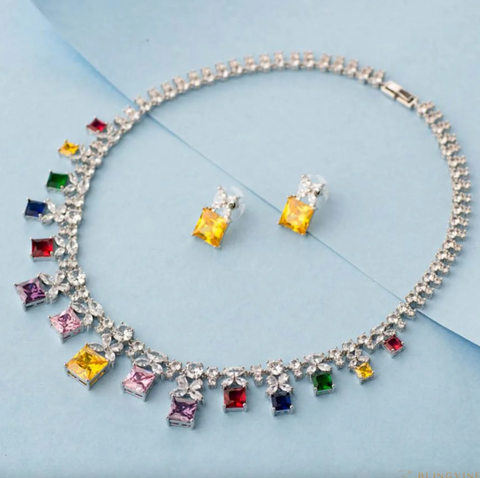 Navratan Luxury Multi Colour Crystal Necklace Set